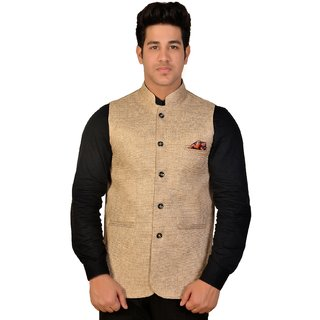 Wearza Mens Beige Cotton Blend Sleevless Rounded Bottom Nehru and Modi Jacket Ethnic Style For Party Wear Sizes S-XXXL