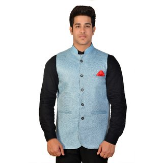 Wearza Mens Sky Blue Cotton Blend Sleevless Rounded Bottom Nehru Modi Jacket Ethnic Style For Party Wear Sizes S-3XL