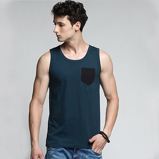 TRENDS TOWER Men Tank Top with Pocket Dark Green Color