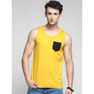 TRENDS TOWER Men Tank Top with Pocket Mustard Color