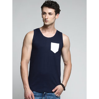 TRENDS TOWER Men Tank Top with Pocket Navy Color
