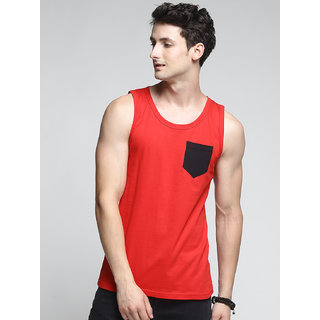 TRENDS TOWER Men Tank Top with Pocket Red Color