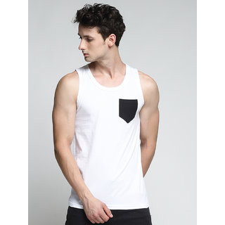 TRENDS TOWER Men Tank Top with Pocket White Color
