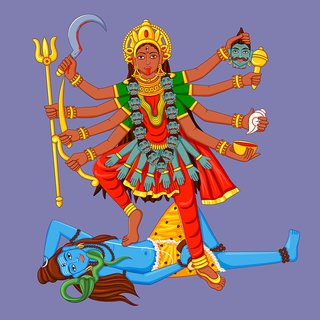 Kali mata and lord shiva Poster 300 GSM Thick Paper Print By 5 Ace |Sticker Paper Poster, 12x18 Inch