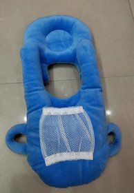 HomeStore-YEP 2 in 1 Velevt Stuff Baby Feeder with Neck Pillow Supporter for Kids (Age 0-6 Months, Color Blue)
