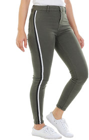 Timbre Women Skinny Fit Mid Rise Streachable Ankle Length Striped Jeans Green