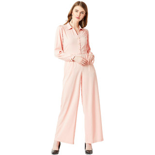 5dd88104b39 70%off Miss Chase Womens Blush Pink Collared Full Sleeve Solid Satin  Collared Straight Leg Maxi Jumpsuit
