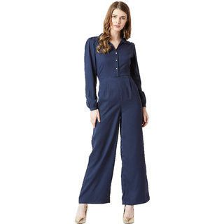Miss Chase Women's Navy Blue Collared Full Sleeve Solid Satin Collared Straight Leg Maxi Jumpsuit
