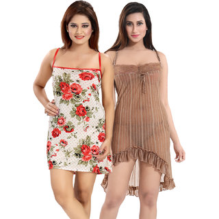Be You Red-Brown Solid Women Babydoll / Nighty Pack of 2 with Panty