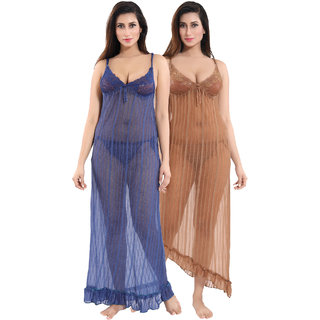 Be You Blue-Brown Solid Women Nighty Pack of 2 With Panty