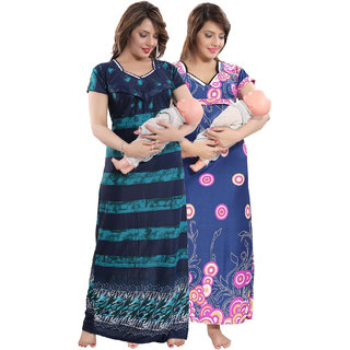 Be You Pink-Green Printed Women Nursing / Maternity Gowns Pack of 2