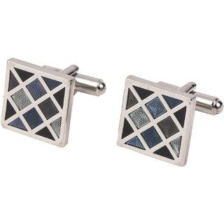 69th Avenue Men's Multicolour Square Shaped Silver Plated Cufflinks