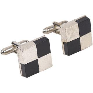 69th Avenue Men's Silver Checks Patterned Square Cufflinks