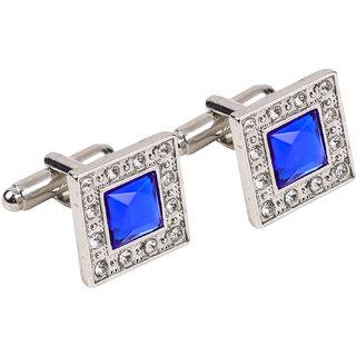 69th Avenue Men's Blue Silver Plated Square Cufflinks