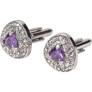 69th Avenue Men's Purple Adjustable Stone Adorned Cufflinks