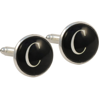 69th Avenue Men's Black Round Alphabetic Cufflinks
