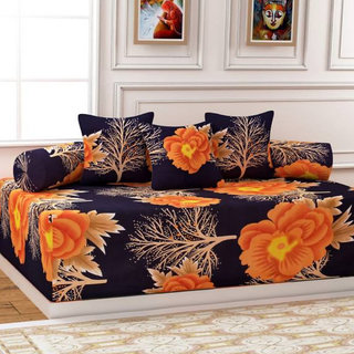 Weave Well  Diwan Set Polycotton 6 Pieces of Combo 3 Cushions Cover 2 Bolster Cover with Single Bed Sheet