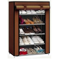 Caxon Fancy Modern 5 Layer Storage Metal Collapsible Shoe Stand  (Brown, 5 Shelves)