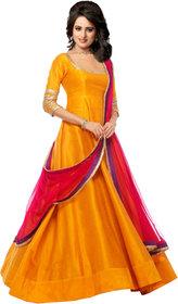 fabrica shoppers designer YELLOW silk Anarkali suit