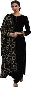 fabrica shoppers designer black embroidered velvet straight suit