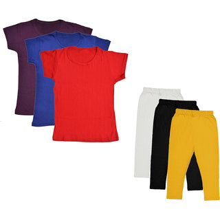 IndiWeaves Girls Cotton Solid Half Sleeves T-Shirt and Capri (Pack of 6)