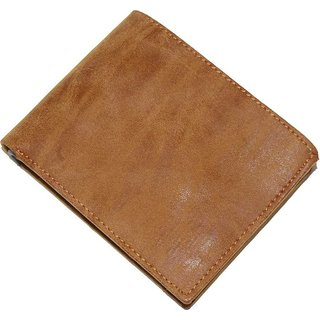 Men Tan Artificial Leather Wallet  (3 Card Slots) (Synthetic leather/Rexine)