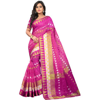 SALWAR SOUL Latest PinkJacquard Saree With Blouse