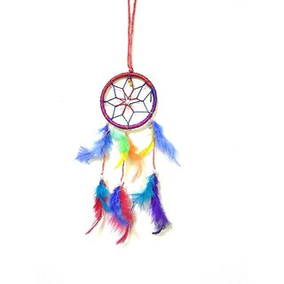 SCORIA Wall Hanging Round Multi-color Dream Catcher for Attract Positive Dreams Protect Sleeping People Children From Bad Dreams and Nightmares Decorative Showpiece Decorative Showpiece - 45 cm
