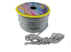 De-Ultimate Silver (18 Mtr) Silk Thread/Dori Lace For Sewing,Embroidery,Laces And Borders,Jewelry Making,Handicraftwork
