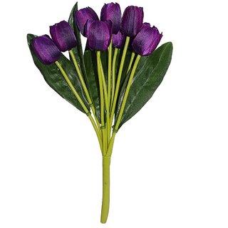 Golden Cart Beautiful Artificial Tulip Bunch (Set of 9 Purple)