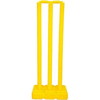 Grazzo Kids Fun Cricket Wickets 32 Inch Kids Training Fun Yellow 6 piece Cricket Set With Net Bag