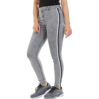 Timbre Women Skinny Fit Mid Rise Streachable Ankle Length Grey Striped Jeans