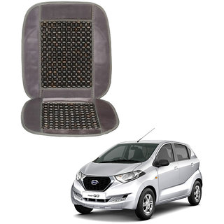 Auto Addict Car Seat Wooden Bead Seat Cover Cushion with Grey Velvet Border For Datsun Redi Go