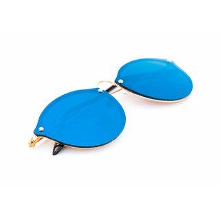 Meia Blue Mercury UV Protection Round Full Rim Non-Metal Sunglasses