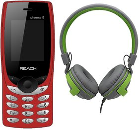 Reach Champ i3 Red (Dual Sim, 1500mAh Battery, FM) (With Free Slanzer Wired Headphone) 1 Year Warranty