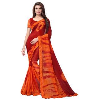 SALWAR SOUL LatestMaroon And OrangeGeorgette Printed Saree