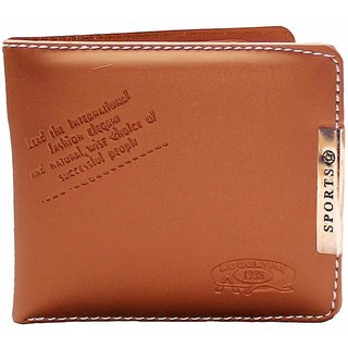 Tan PU Single fold Wallet by Dream Collection (Synthetic leather/Rexine)