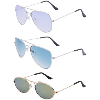 Amour Propre Multi Color Aviator Sunglasses Pack of 3