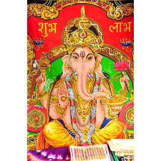 Ganesh Ji Colored |God Poster for Room|Religious Poster|Poster for any Room|HD Poster for Home,Office,Gym Decor|300 GSM Thick Paper Print By 5 Ace