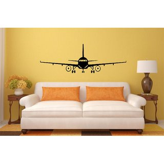 Asmi Collections Black Airplane Wall Stickers
