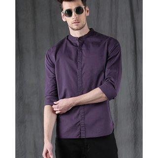 Men Purple Mandarin Coller Solid Casual Shirt