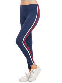 Eazy Trendz Exclusive Womens Jogger Gym Yoga Sports  Fitness Cashual All Purpose Side Striped Ankle Length Leggings Tights with Stretchable Thick Spandex Rib Cotton Fabricating (Free Size)