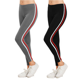 Eazy Trendz Exclusive Womens Jogger Gym Yoga Sports  Fitness Cashual All Purpose Side Striped Ankle Length Leggings Tights with Stretchable Thick Spandex Rib Cotton Fabricating (Free Size) (Pack of 2)