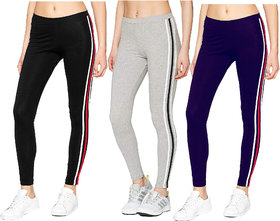 Eazy Trendz Fashion  Womens Jogger Gym Yoga Sports  Fitness Cashual All Purpose Side Striped Ankle Length  Tights with Stretchable Thick Spandex Rib Cotton Fabricating (Free Size) (Pack of 3)