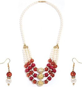 GoldNera Zuni Designer Red Bead Necklace With earrings