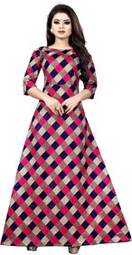 Aika Women's Banglori Satin Printed Semi-Stitched Gown (Chax Gown Pink)