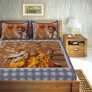UniqChoice 100% Pure Cotton Jaipuri Traditional Double bedsheet