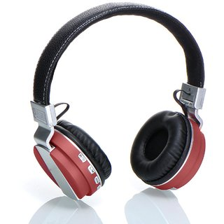 Wireless Bluetooth Headphone  Headsets with Mic with high Bass Sound Microphone with SD Card Function/FM Radio/Aux Red