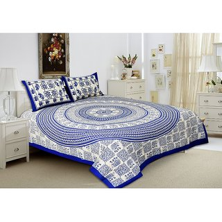 UniqChoice 100 Pure Cotton Jaipuri Traditional Double bedsheet