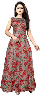 Meia Women's Banglori Satin Printed Semi-Stitched Gown (Kundan Gown Red)